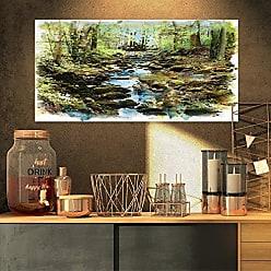DESIGN ART Designart Stream in The Forest-Landscape Painting Canvas Print-32x16, 32x16