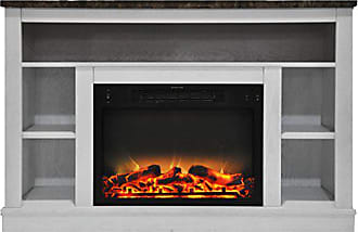 Cambridge Silversmiths CAM5021-1WHTLG2 47 In. Electric Fireplace with Enhanced Log Insert and White Mantel