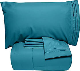 Sweet Home Collection 4 Piece Comforter Set Bag Solid Color All Season Soft Down Alternative Blanket & Luxurious Microfiber Bed Sheets, Twin, Teal