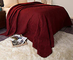 Trademark Global Bedford Home 66A-04189 Solid Color Bed Quilt-Full/Queen-Burgundy