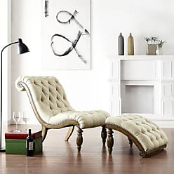 Weston Home Beige Linen Button Tufted Chaise and Ottoman - Light Distressed Driftwood - 960S870S(3A)
