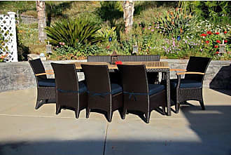 Harmonia Living Outdoor Harmonia Living Arbor Teak 7 Piece Rectangular Patio Dining Set with Sunbrella Cushion - HL-AR-CB-7BDS-IN