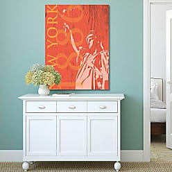 Portfolio Canvas Decor Portfolio Canvas Decor Portfolio Décor Canvas Print Wall Art-New York 1886 in Tangerine by IHD Studio Stretched and Wrapped, Ready to Hang-30x40, 30x40