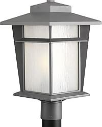 PROGRESS Loyal Textured Graphite 1-Lt. Post Lantern w/Bulb (11) Etched seeded glass panels