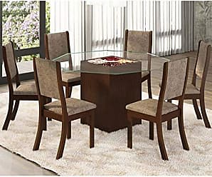 Viero Conjunto Sala de Jantar Mesa e 6 Cadeiras Mona Viero Choco/Canela