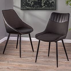 LumiSource Marche Contemporary 2 Tone Dining Side Chair - Set of 2 Black/Gray - CH-MAR BK+BKGY2
