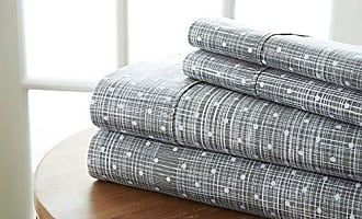 iEnjoy Home Simply Soft 4 Piece Sheet Set Polkadot Patterned, Full, Gray