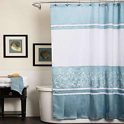 Lush Décor U16005Q11 Charlotte Shower Curtain, 72 x 72, Blue