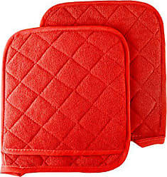 Trademark Global Pot Holder Set, 2 Piece Oversized Heat Resistant Quilted Cotton Pot Holders By Lavish Home (Red)