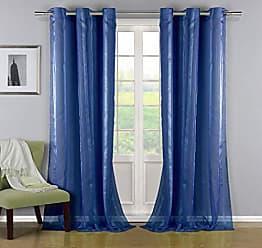 Duck River Textile Del Satin Stripe Grommet Top Window Curtain Drapes For Bedroom, Livingroom, Kids Room, Children, Nursery - Assorted Colors - Set of 2 Panels, 38 X 84, Blue