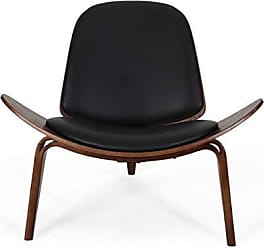 Christopher Knight Home 308936 Megan 17 Mid-Century Modern Shell Accent Chair with Bentwood Design and Leather Seating, Black and Dark Brown Finish, Teal, Gold