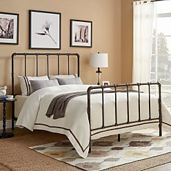 Weston Home Industrial Style Pipe Metal Panel Bed, Size: Queen - 68E422BQ-DK[BD]