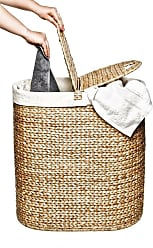 Seville Classics Large Round Wicker Weave Laundry Hamper//w Canvas Liner Ivory
