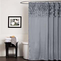 Lush Décor Lillian Shower Curtain | Textured Shimmer Circle Design Bathroom, 72 x 72, Gray