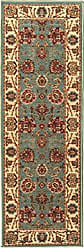 Ottomanson Otto Home Collection Persian Style Oriental Runner Rug Skid (Non-Slip) Rubber Backing, 20 L X 59 W, Sage Green/Aqua Blue, 20 X 59, Seafoam