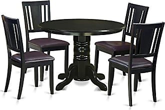 East West Furniture SHDU5-BLK-LC 5 Piece Table and 4 Chairs Kitchen Nook Set