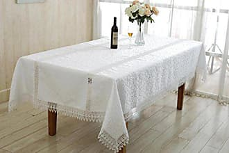 Violet Linen Ruby Embroidered Vintage Lace Design Oblong/Rectangle Tablecloth, 54 x 72, White