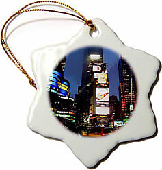 3D Rose 3dRose orn_4394_1 Times Square-Snowflake Ornament, Porcelain, 3-Inch