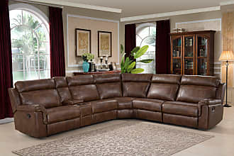 AC Pacific Nicole Reclining Brown Leather Sectional Sofa