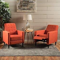 Christopher Knight Home 300973 Marston Mid Century Modern Fabric Recliner (Set of 2) (Orange)