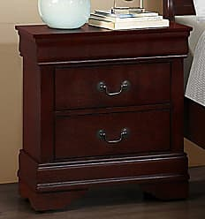 Round Hill Furniture Isola Louis Philippe Style Fully Assembled Wood Night Stand, Cherry Finish