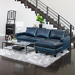 Abbyson Landis Top Grain Leather Sectional (Foam/Leather/Wood - Blue)