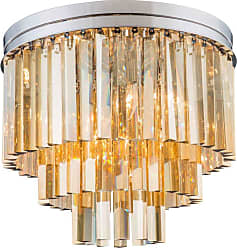 Urban Classic Sydney Collection 20 in. Tiered Flush Mount Chandelier Silver-Shade Crystals Polished Nickel - 1201F20PN-SS/RC