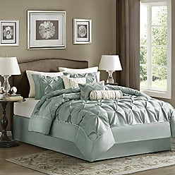 Madison Park Laurel Cal King Size Bed Comforter Set Bed In A Bag - Seafoam, Wrinkle Tufted Pleated - 7 Pieces Bedding Sets - Faux Silk Bedroom Comforters