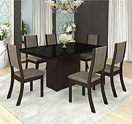 Viero Conjunto Sala de Jantar Mesa Tampo em MDF/Vidro Bella 6 Cadeiras Kiara Viero Choco/Canela
