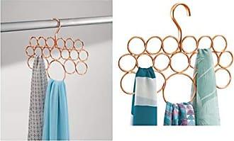 knitterfreie Schal Aufbewahrung mit 8 Ringen iDesign H/ängeaufbewahrung f/ür Schals Krawatten und G/ürtel kleiner H/ängeorganizer aus Metall f/ür Schals silberfarben