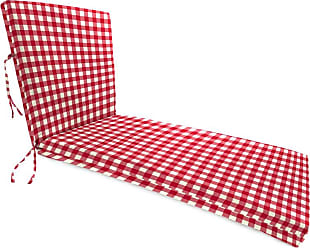 Jordan Manufacturing Company Classic Chaise Cushion with Ties, 76 x 23 x 3, in Red Gingham