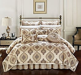 Chic Home Cipriana 9 Piece Comforter Set Jacquard Scroll Faux Silk Bedding with Pleated Flange - Bed Skirt Decorative Pillows Shams Included Queen Gold