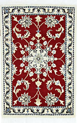 Nain Trading Authentic Nain Rug 211x111 Beige/Dark Red (Wool/Silk, Iran/Persia, Hand-Knotted)