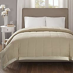 Madison Park Cambria Oversized Down Alternative Blanket, Twin Size, Taupe, 1 Piece Quilted Embossed Seersucker Hypoallergenic 3M Scotchgard Stain Resistant Bedroom Bedding