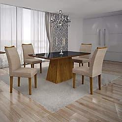 Leifer Conjunto Sala de Jantar Mesa Tampo MDF/Vidro Preto 4 Cadeiras Pampulha Leifer Canela/Linho Bege