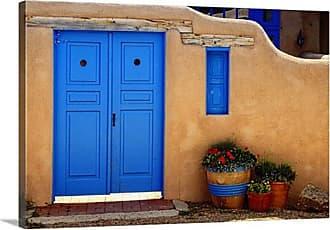 Great Big Canvas Adobe Walls with Blue Doors Ranchos De Taos New Mexico Wall Art - 1047066_24_24X16_NONE