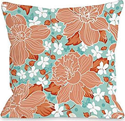 One Bella Casa Exotic Flowers Throw Pillow by OBC, 16x 16, Turquoise/Coral