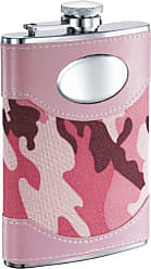 Visol Products Visol GI Jane Camouflage Wrapped Stainless Steel Hip Flask, 8-Ounce, Pink