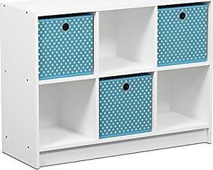 Furinno 99940WH/LBL Basic 3x2 Cubic Bookcase Storage Shelves, White/Light Blue