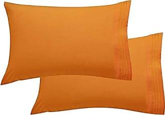 Elegant Comfort Luxury Ultra-Soft 2-Piece Pillowcase Set 1500 Thread Count Egyptian Quality Microfiber Double Brushed-100% Hypoallergenic-Wrinkle Resistant, King/California King, Orange