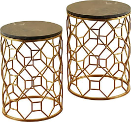 StyleCraft Round Marble Top End Tables - Set of 2 - SF225105DS