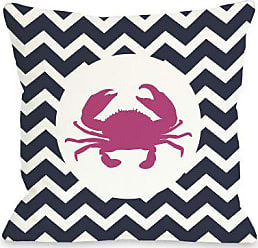 One Bella Casa Chevron Crab Navy Throw Pillow by OBC, 18x 18, Navy/White/Pink