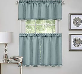 Ben&Jonah Ben & Jonah PrimeHome Collection Wallace Window Kitchen Curtain Tier Pair and Valance Set-58x24-Aqua, Aqua