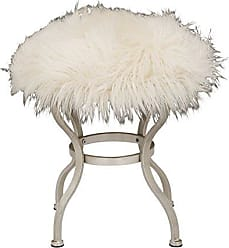 Benzara 85472 Deco 79 Contemporary Round Wood and Metal Fur Stool with Curved Legs, 21 H x 20 L, Smooth White Finish