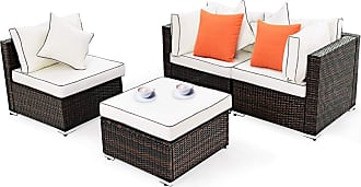 Costway 4 pcs Wicker Rattan Sofa Furniture Set