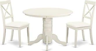 East West Furniture SHBO3-WHI-LC Shelton Set, Linen White