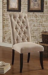 FURNITURE OF AMERICA Williams Home Furnishing CM3564SC-2PK Mashall Side Chair, Black/Ivory