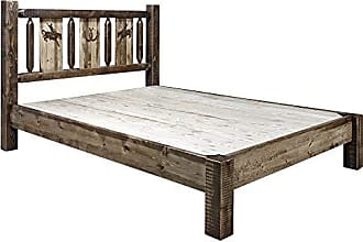 Montana Woodworks MWHCPBKSLLZBRONC Homestead Collection King Platform Bed with Laser Engraved Bronc Design Stain & Clear Lacquer Finish