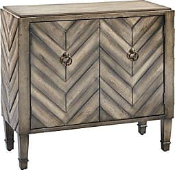 Madison Park Dresden Storage Chest - Wood Living Room Storage - Brown, Tan, Geometric Cheveron Pattern Modern Style Dresser Chest - 1 Piece 2 Doors Chest For Bedroom