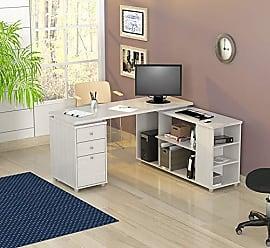 Inval America ET-3315 L Shaped Work Station Computer Desk, White